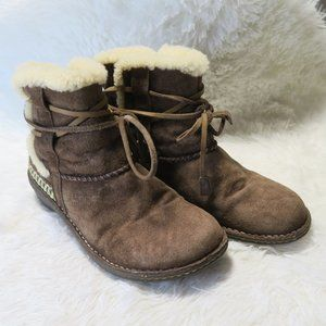 UGG Cove Womens 9 Brown Boots Suede Shearling Ankl
